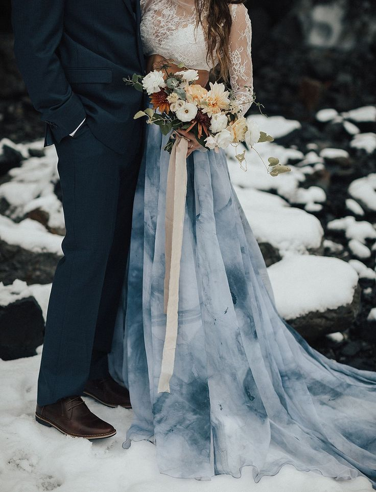 Ice Cave Elopement Inspiration at the Big Four Ice Caves in the Pacific Northwest // blue tie dye skirt