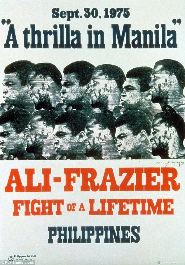 A poster for Muhammad Ali v Joe Frazier, also known as the Thrilla in Manila.
