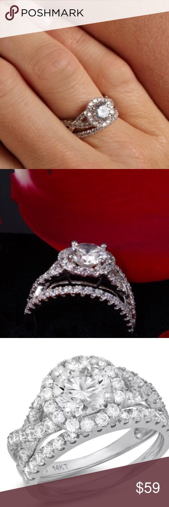Simulated Diamond Wedding Ring Sterling Silver
