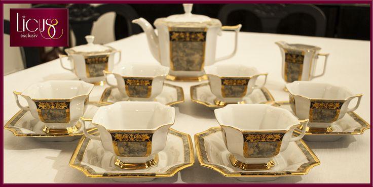 """www.Licus.ro Cadou pentru nuntă Set pentru ceai """"Empir"""" pentru 6 persoane, din porțelan fin, pictat și placat manual cu aur 18 K, compus din 15 obiecte. Cadou impresionant prin finețea lucrărilor manuale (desen și placare cu aur 18K), forme neobișnuite, design elegant și sobru. Preț 1180 lei, price 337$ http://www.licus.ro/home/set-pentru-ceai-din-porelan-pentru-6-persoane-pictat-i-placat-manual-cu-aur-18-k-empir-165.html"""