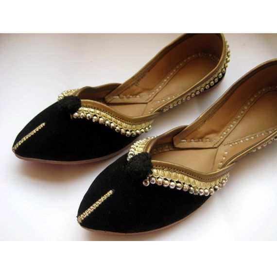 Gold Shoes/Black Flats/Ethnic Shoes/Velvet by FootSoles on Etsy, $32.10