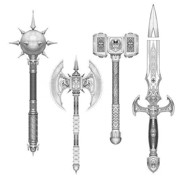 fantasy medieval weapons concept sketch