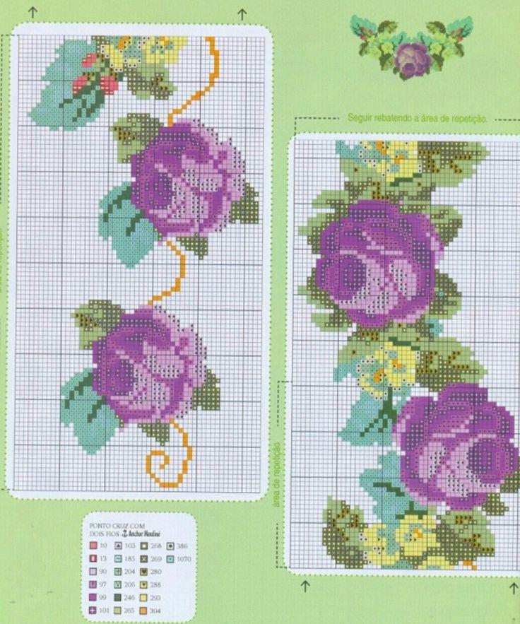 #crossstitch #kanaviçe #mor #güller #purple #roses