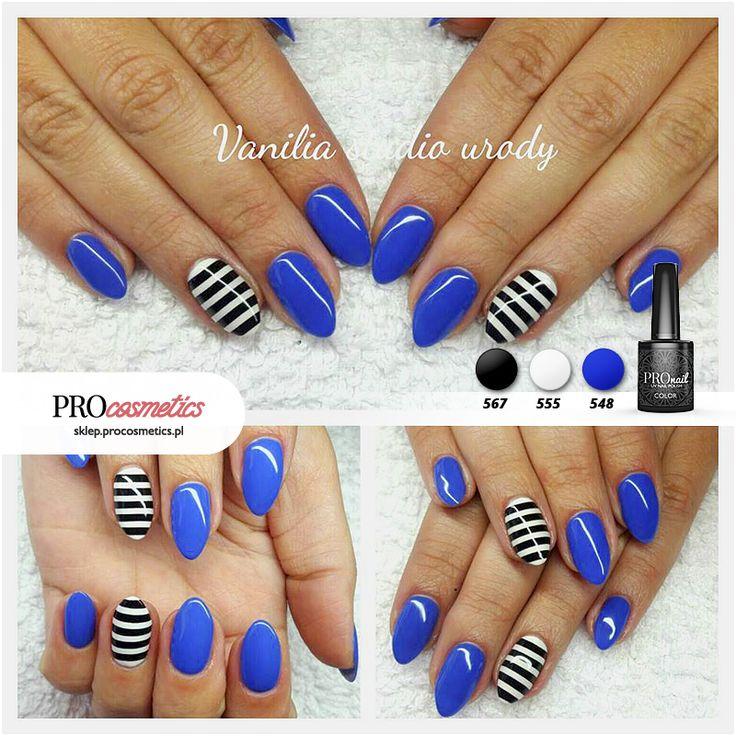 Kobaltowe paznokcie ze zdobieniem w czarno białe paski / prązki - kobalt PROnail 548 hybrydowe