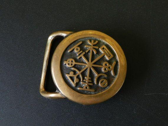 RARE Rhumb Belt Buckle  solid brass Tech-Ether by FrayedByChance