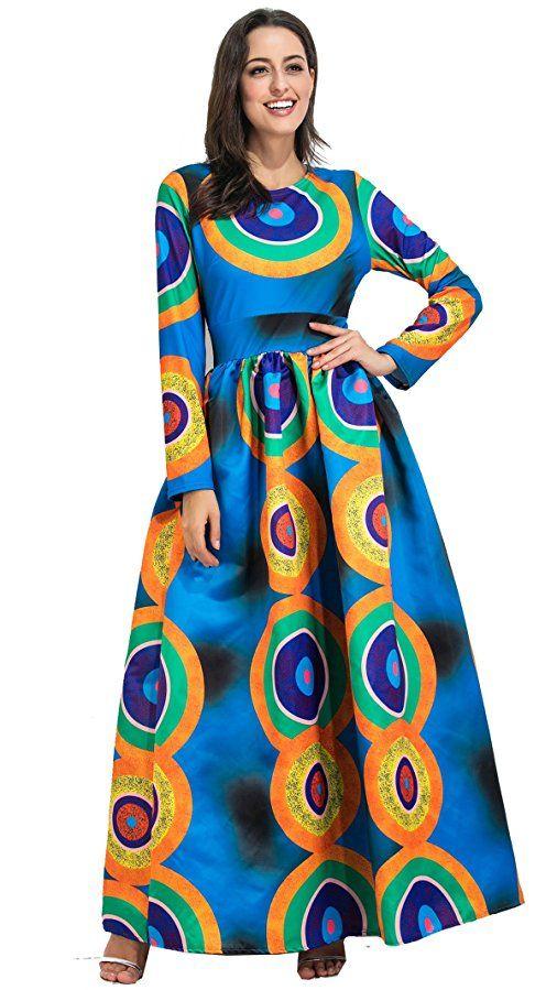 791d1498a81a Yilia Autumn Winter African Print Maxi Long Dresses Women Vintage Retro Long  Sleeve Floor Length Elegant Traditional Skater (XL). dutch wax, kente,  kitenge, ...