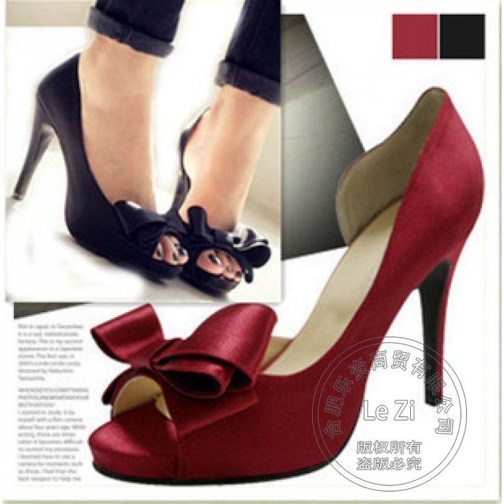 Scarpe donna Peep Toe Tacchi di Alta Qualità Donna Piattaforma Bowtie Vari Vino Rosso di Colore Solido Arco Comodo Tacco Sottile Sexy(China (Mainland))