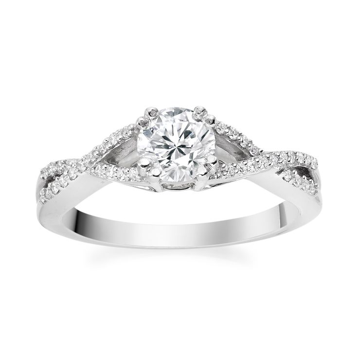 Antique Cut-Out Diamond Ring in 18k White Gold