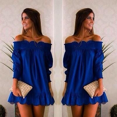 Sweet Boat Neck Blue Casual Party Dresses Ladies Beach Summer Dress Sexy Blue Party Dresses Ruffles Sweet Girls Dress - Crystalline