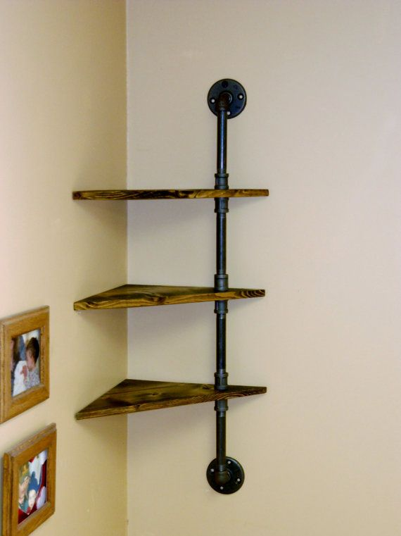 $68 Corner Pipe Shelf Industrial Shelves Three by ...