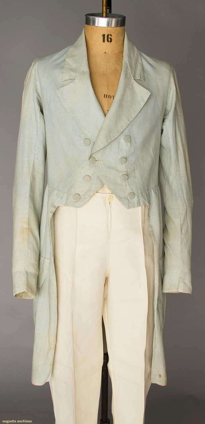 MAN'S BLUE & WHITE CHECK TAIL COAT, 1830-1840s Light blue & white tiny gingham cotton, rever collar, double breasted, 2 pocket flaps