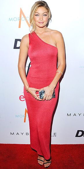 GIGI HADAD For the Daily Front Row event, the model and new face of Maybelline New York shows off her figure (and picks up the Model of the Year award) in a coral one-shoulder Calvin Klein Collection gown.