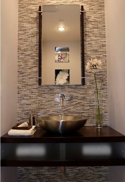 Floating Vanity And Vessel Sink Style And Tile Up Wall