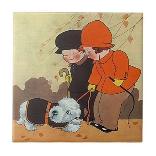 Hojas de otoño del día ventoso del mascota del azulejo cuadrado pequeño