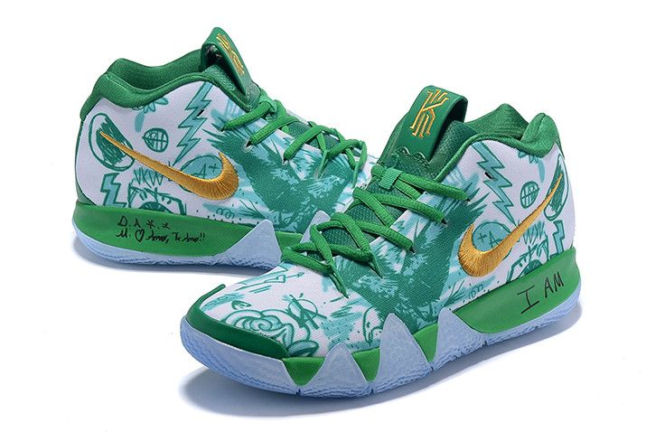 0bb92ac4f044 Nike Kyrie 4 Boston Celtics Green White Gold Basketball Shoes in ...