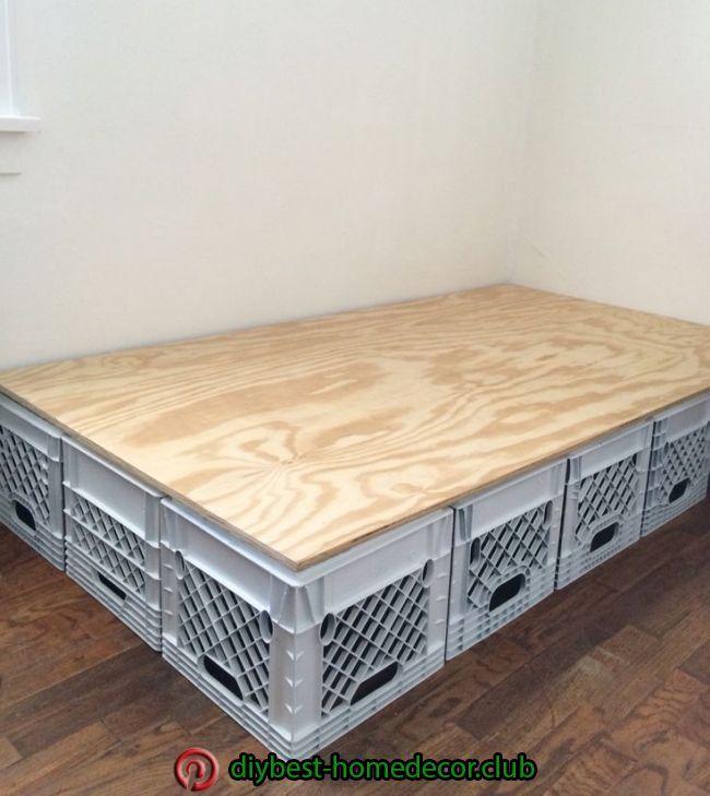 Bed Frame Made Of Plastic Crates Diy Pallet Furniture Milk