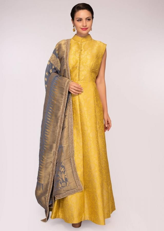 Yellow brocade anarkali dress matched with a grey georgette weaved dupatta  only on Kalki | Anarkali dress pattern, Anarkali dress, Anarkali dress  online shopping