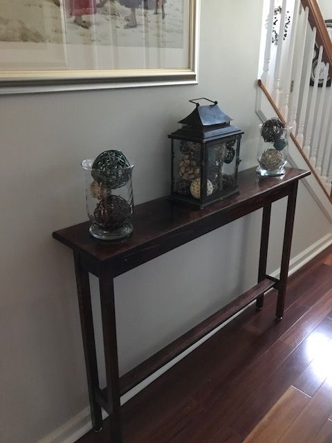 """Hallway table, Red Mahogany stain with polyurethane finish. Measures 46"""" x 9-1/4"""" x 30"""""""