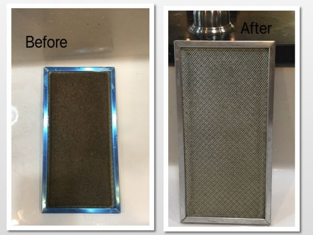 easy way to clean greasy range hood filters
