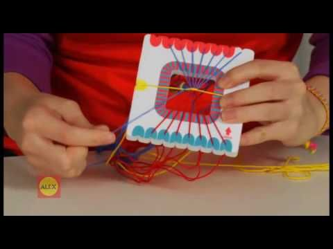 Easy to follow instructions from Alex toys on how to make four basic flat kumihimo patterns. You don't need their brand of loom, just set up your strings as shown in the video on your own loom. I have named these four patterns striped, zipper, horizontal stripe, and railroad track.