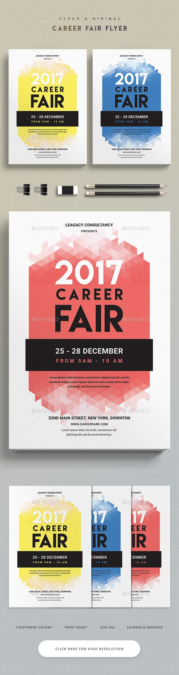 Career Fair Flyer  — PSD Template #seminar #conference #advertisement #symposium • Download ➝ https://graphicriver.net/item/career-fair-flyer/18242150?ref=pxcr