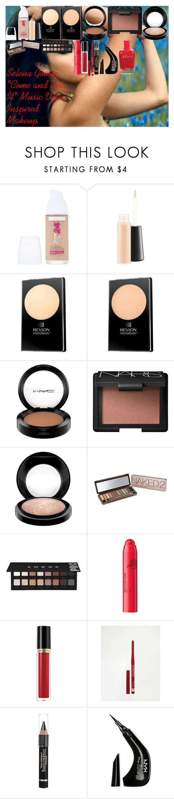 """""""Selena Gomez """"Come and Get It"""" Music Video Inspired Makeup"""" by oroartye-1 on Polyvore featuring beauty, Maybelline, MAC Cosmetics, Revlon, NARS Cosmetics, Urban Decay, LORAC, Rimmel, Anrealage and NYX"""