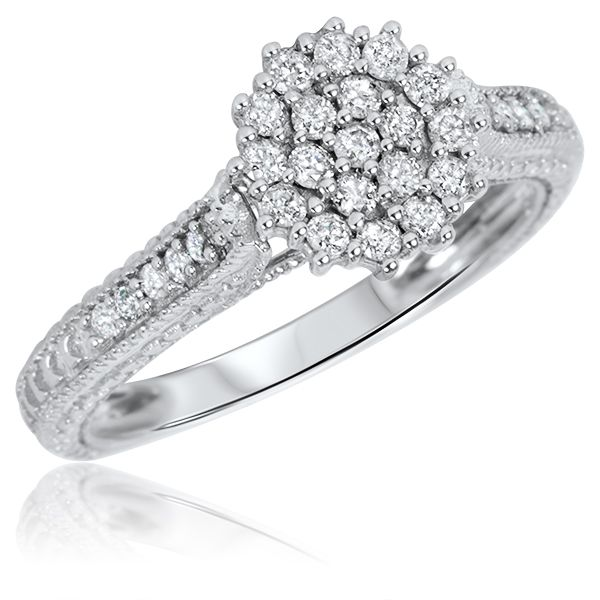 1/2 Carat T.W. Diamond Women's Engagement Ring 14K White Gold
