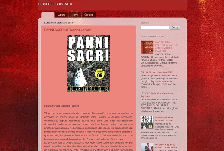 """lo scrittore Giuseppe Cristaldi e """"Panni sacri"""" sul suo blog"""