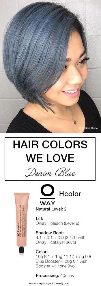 This Denim Blue Hair color is everything! Created with Oway Hcolor by Desiree Cerda! #Oway #Hcolor #SpringHair