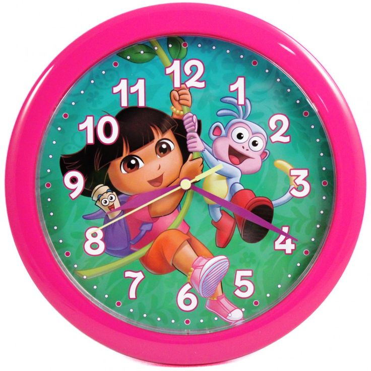 Fetching Wall Decoration In Kid Bedroom Using Children And Kid Clocks: Endearing Round Pink Dora The Explorer Kid Clocks For Kid Bedroom Wall Decoration ~ coolhousez.net Accessories Inspiration