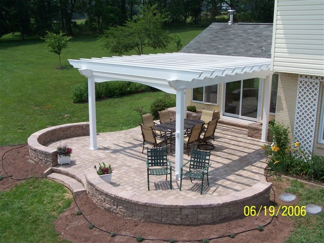 Image Detail For  ... Azek Pergola Atop A Curved Shape Paver Patio W