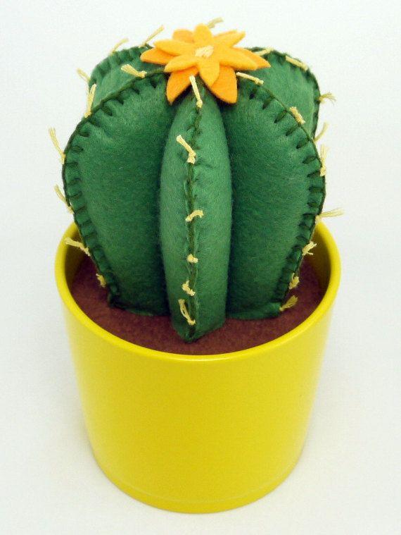 Fieltro cosido color personalizado de vasija de barro - mano - cactus