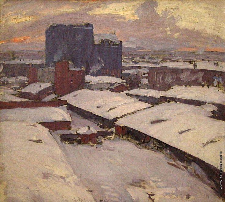 Русский художник Архипов (Пыриков) Абрам Ефимович (1862 - 1930).  Московские дворы.