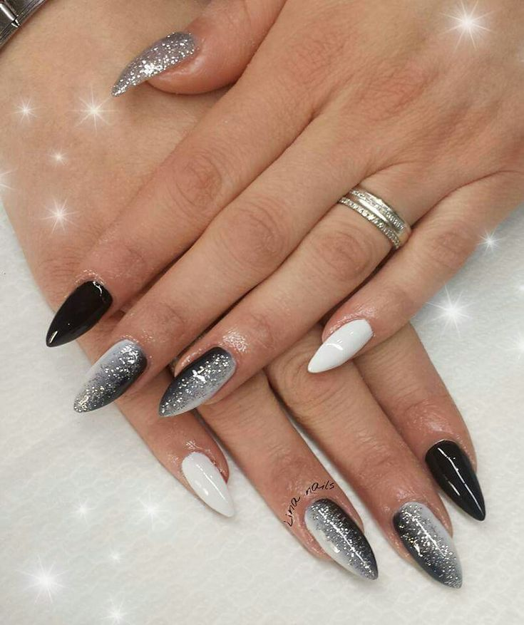 My work, nail art, dark&white, love