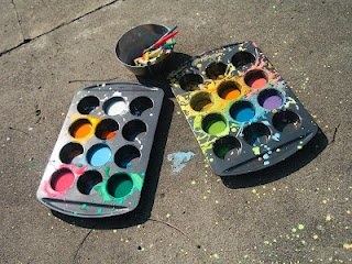 Make your own side walk paint- 1 part cornstarch, 1 part water and add food coloring