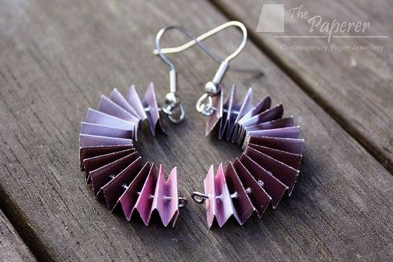 Pink Burgendy & Lilac Paper Earrings. Curved Concertina Design by ThePaperer, $25.00