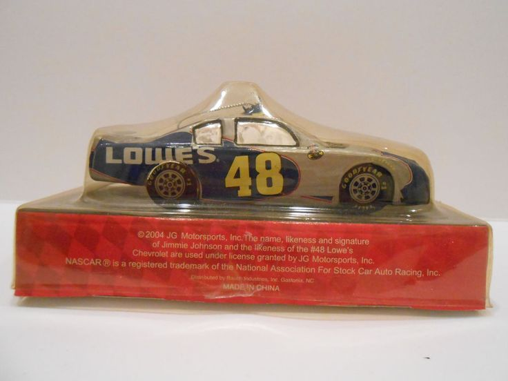 Nascar 2004 Jimmie Johnson #48 Race Car Glass Christmas Ornament Lowes  #Lowes #Lowes
