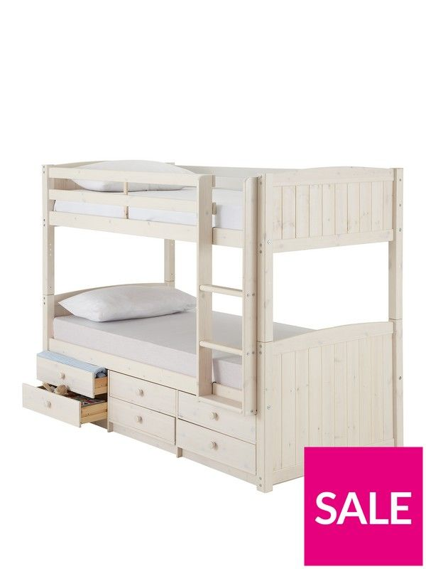 Kidspace Georgie Solid Pine Bunk Bed Frame with Storage DrawersMade from beautiful solid pine, this bunk bed frame is a real space saver. The bunk bed frame is available in natural or whitewash colour options, and features 6 under-bed storage drawers - perfect for toys, games and keeping freshly washed spare bedding neat and tidy!The elegant solid pine bed is traditionally styled with tongue-and-groove detail at the head and foot ends, and the 2 beds can be separated when your children are a…