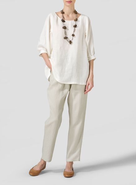 Off White Linen Pleated Sleeve Top  - Feminine and modern. Make your top pop this season mark with wide, pleated sleeves.