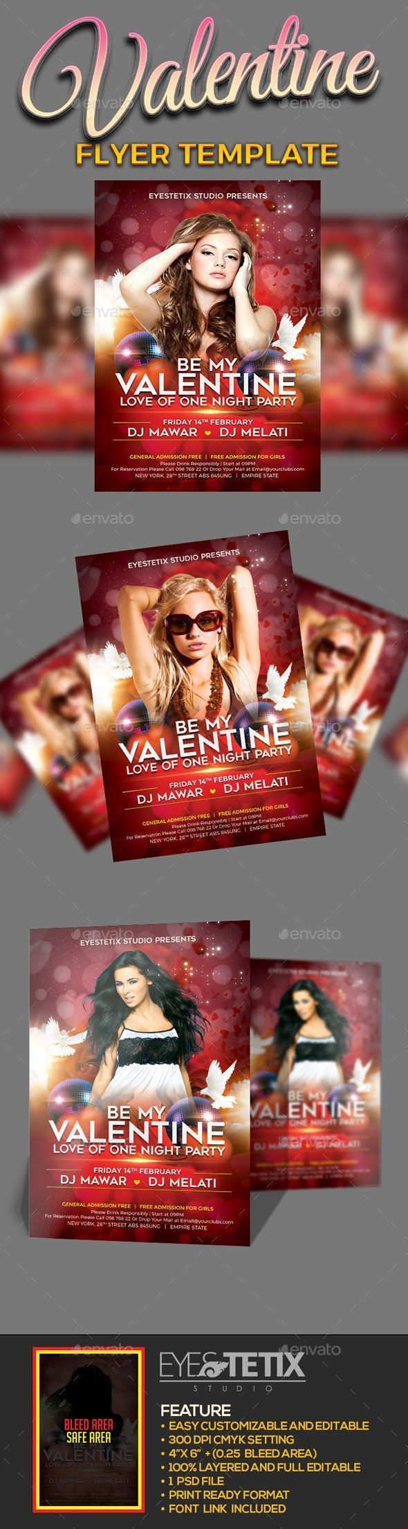 Be My Valentine Flyer - Clubs & Parties Events