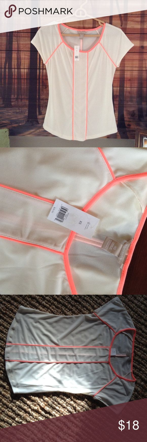 Banana Republic blouse NWT Off white with coral/ florescent piping. Beautiful  fitted shape. 95 percent poly, 5 spandex. Never worn. NWT Banana Republic Tops Blouses