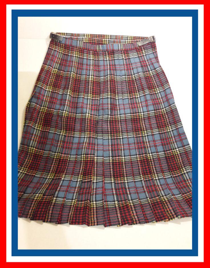 Vintage Plaid Kilt Skirt Pure Wool Scotland by Robert Kilts The Argyll Arcade  #RobertKilts #KiltSkirt #Casual