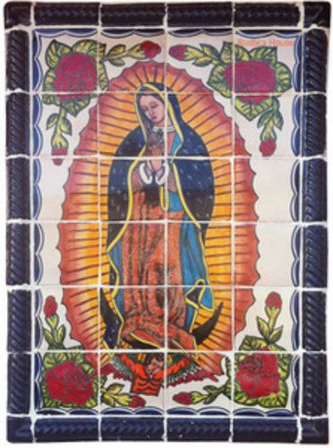 """A Mexican tile mural looks pretty on a kitchen wall backsplash, bathroom wall or table-top. Virgen de Guadalupe mural sku 19117 is available in made to order dimensions. rustic tiles can be also installed in swimming pools, fountains and outside of the buildings. Tile Mural """"Virgen de Guadalupe"""" by Rustica House. #myRustica"""
