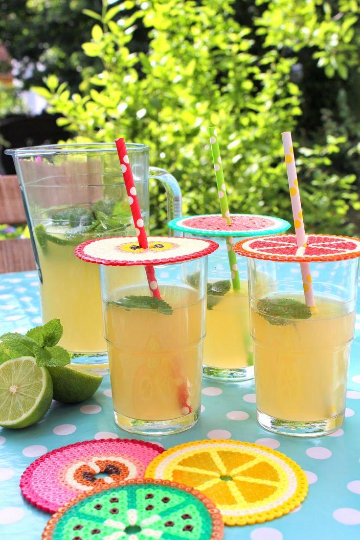 Abdeckung fürs Sommergetränk aus Bügelperlen