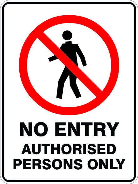 NO ENTRY AUTH. PERSONS (600x450mm) - Metal $34.10 (Inc GST)
