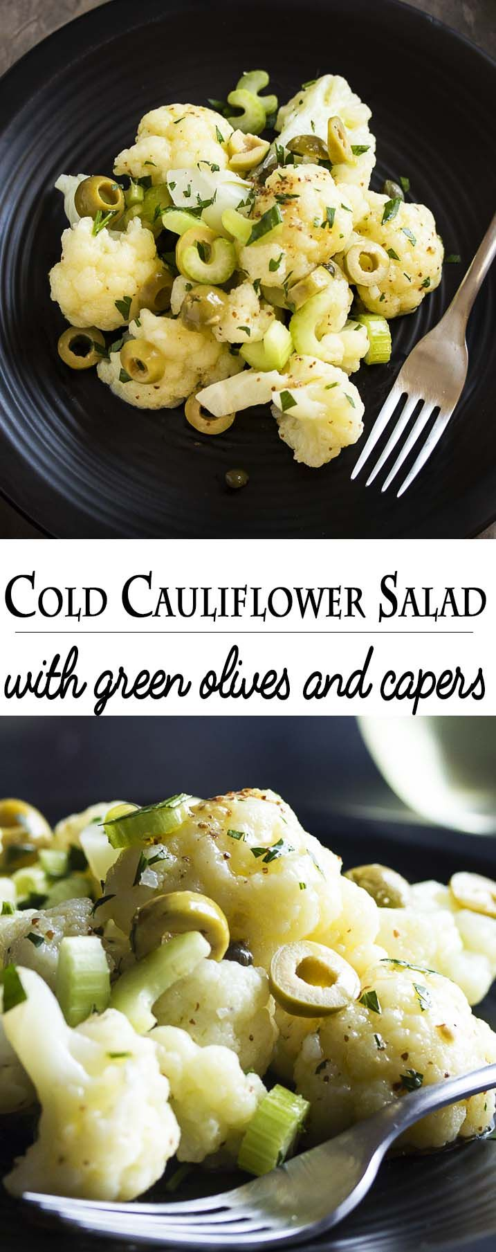 Cold cauliflower salad is a great year-round salad filled with tender cauliflower, briny capers, meaty green olives and plenty of fresh parsley. | justalittlebitofbacon.com