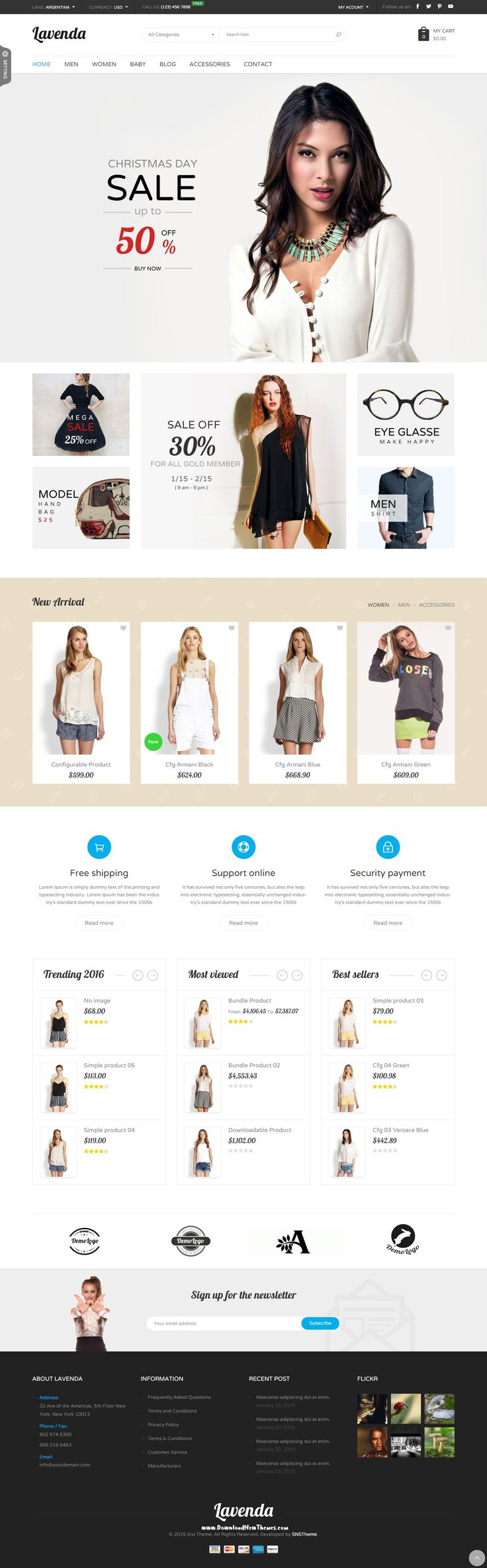 SNS Lavenda - Responsive #Magento Theme has 8+ homepage layout and with powerful features, easy to customize, power admin, cool effect.