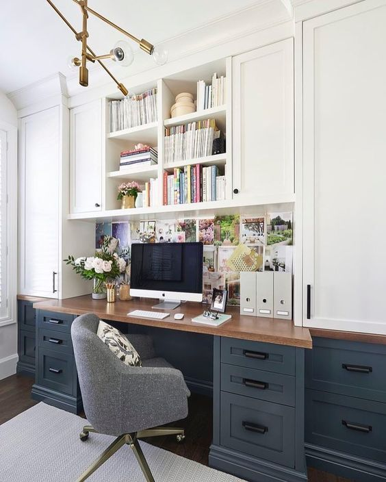 Pretty Sure This Is My Dream Office. Love The Dark Blue Gray Lower Desk  Cabinets, Wood Top And White Uppers. Beautiful Home Office Idea.
