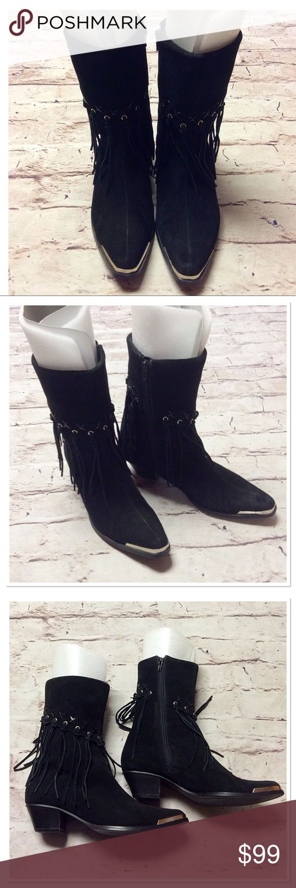 "🎉HP🎉OAK TREE FARMS BLACK SUEDE FRINGE BOOTS These are gorgeous boots with lots of fringe detail, side zip, Cuban 2"" heel and a silver toe guard. No major issues. A couple of scuffs of the heels and the inside lining has a tear but will not be seen when wearing. They are genuine suede leather!!! Oak Tree Farms Shoes Heeled Boots"