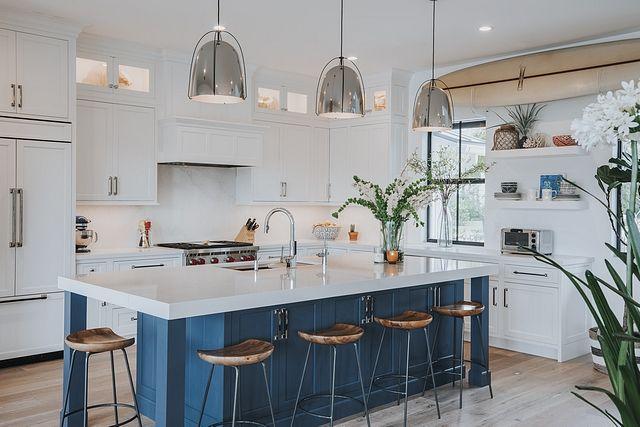 Download Wallpaper Modern White Kitchen With Blue Island